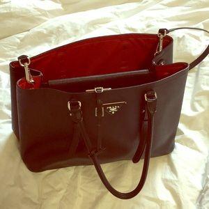 Prada Saffiano Cuir Medium Tote Bag, Black/Red
